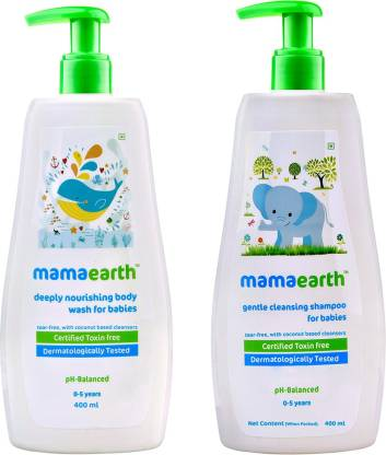 MamaEarth Deeply Nourishing Body Wash for Babies 400ml + Gentle Cleansing Shampoo 400ml