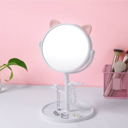 pepplo Makeup Mirror Shaving Mirror,Free Standing Table Vanity Mirror on Stand with Rotation,Cat Shape