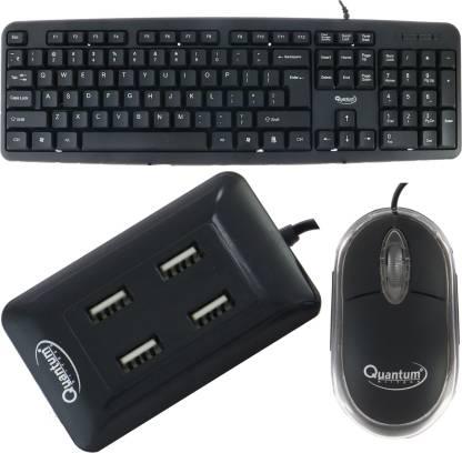 Quantum Hi-Tech QHM 7403 WIRED KEYBOARD, QHM 222 WIRED MOUSE AND QHM 6633 (BLACK) 4 PORT USB HUB (COMBO) Combo Set