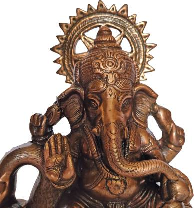 The Art Box Lord Ganesha Black Metal Sitting Pushpak Ganesh Ganesh metal Statue Ganpati Murti Pushpak Ganesh Idol Decorative Showpiece  -  31 cm