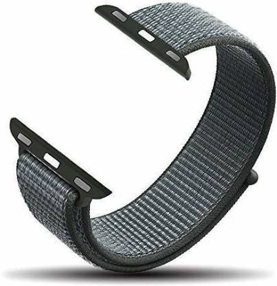 Big Wings Soft Lightweight Breathable Nylon Loop Sport Strap Band for Ap_ple Watch Series 1 / 2 / 3 / 4 / 5 (Grey Green, 42/44 mm, Nylon) Smart Watch Strap(Grey, Green)