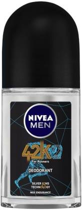 NIVEA MEN 42K Roll On, with Silver Ions Technology for Max Endurance - No Alcohol - Reduces up to 99.9% Odour-causing Bacteria - Running & Workout Essentials, 50 ml Deodorant Roll-on  -  For Men