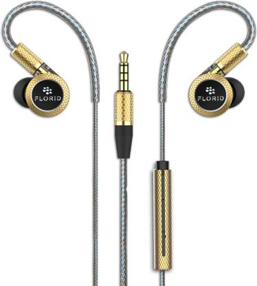 FLORID In Ear Triple Dynamic Speaker Earphone (Phoenix 2020; Gold) Wired Headset