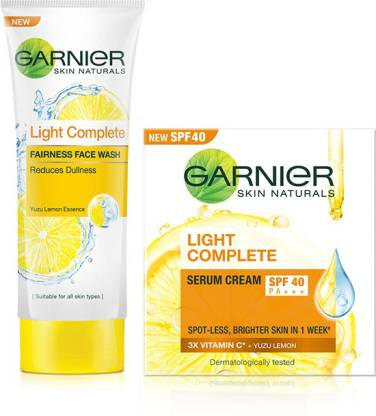 GARNIER Light Complete Serum Cream SPF 40, 45 g + Light Complete Face Wash 100 g