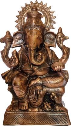 The Art Box Lord Ganesha Black Metal Sitting Ganesh Statue Ganpati Murti Ganesh Idol Vighnaharta Gajanana Lambodara Vinayaka Ekdant Vikata Sumukh Bhalchandra Decorative Showpiece  -  65 cm