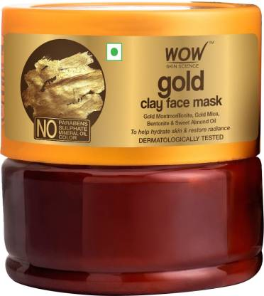 WOW SKIN SCIENCE Gold Clay Face Mask for Hydrating Skin & Restoring Radiance - No Parabens, Sulphate, Mineral Oil & Color - 200mL