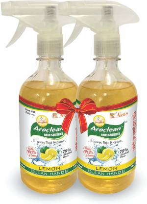 AROCLEAN Instant  and Surface Disinfectant in Solution Form with 70% Alcohol Base with Aloe Vera & Neem Extract Sanitizer Spray Bottle