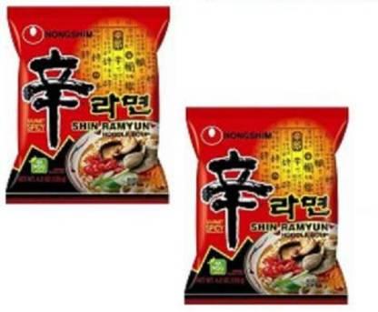 Nongshim Shin Ramyun Noodle Soup-120 gm (Pack of 2) (Imported) Instant Noodles Vegetarian