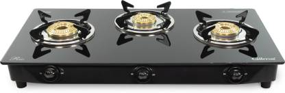 gilma Rio 3 burner Glass Cooktop Stainless Steel Manual Gas Stove
