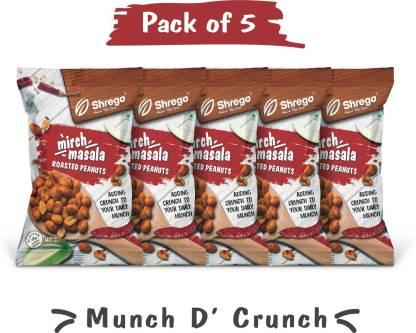 shrego Mirch Masala Roasted Peanuts (5x140 GM) (Pack of 5)