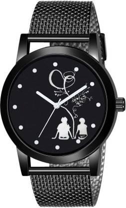 VARNI ENTERPRISE 182_83_84 NEW STYLISH PU BLACK STRAP WATCH ANALOG WATCH FOR MEN Analog Watch - For Boys Analog Watch - For Boys