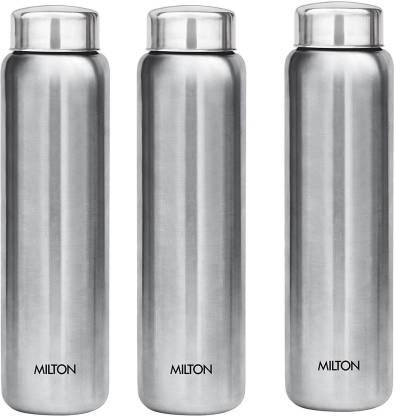 MILTON Aqua Stainless Steel Fridge Water Bottle 930 ml, Set Of 3, Silver 930 ml Bottle