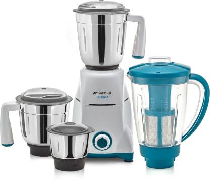 Sansui ProHome Ultima 750 W Juicer Mixer Grinder (4 Jars, White and Blue)