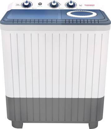 Thomson 7.5 kg 5 Star Rating, Smart Pro Wash Technology Semi Automatic Top Load White, Blue, Grey