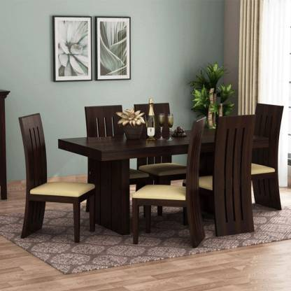 Chair Solid Wood 6 Seater Dining Set, Dining Room Table With 6 Chairs