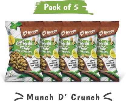 shrego Nimbu Mirchi Pudina Roasted Peanuts (5x140 GM) (Pack of 5)