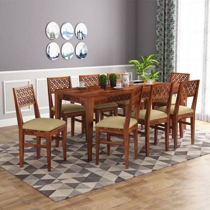 Mooncraft Furniture Wooden Dining Table, Wooden Dining Room Table And 8 Chairs