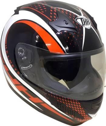 THH HELMETS T-76 King Cobra Full Face Single Shield Helmet (Black/Red, Glossy) Motorbike Helmet