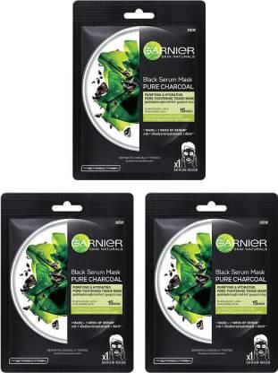 GARNIER Skin Naturals Face Serum Sheet Mask (3 Charcoal) (Pack Of 3)
