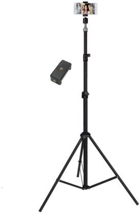 F FERONS 100% Premium quality 2.1 metre stand (Tripod) with mobile holder Light Aluminum Alloy Photography Stand for Make Videos on ,MX Taka Tak, Vigo Video,YouTube ,instagram ,online class, Fits all smartphones ,camera ,projector/ Strong and Durable Tripod/Portable and Extendable body Tripod, Tripod Kit, Tripod Bracket