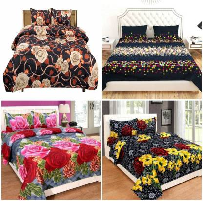 SUJATA 150 TC Polyester Double 3D Printed Bedsheet