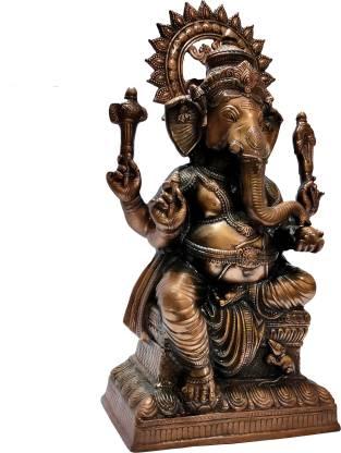 The Art Box Lord Ganesha Black Metal Surya Sitting Ganesh metal Statue Ganpati Murti Surya Ganesh Idol Vighnaharta Gajanana Lambodara Vinayaka Ekdant Vikata Sumukh Bhalchandra Decorative Showpiece  -  84 cm