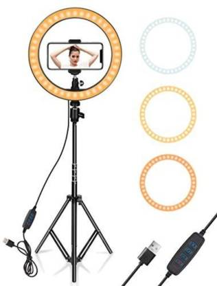 hkutotech LED Ring Light with Stand for Camera Smartphone You-Tube Video Shooting Instagram Reels and Makeup, MX Takatak, Musically, Vigo and Many More (12 inch Ring Light 7feet Tripod) Ring Flash