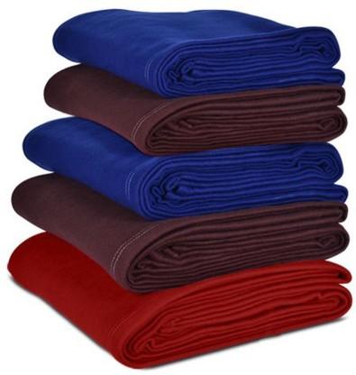 Flipkart SmartBuy Solid Single Fleece Blanket – Pack of 5