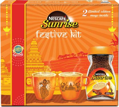 Nescafe Sunrise Rich Aroma Instant Coffee Festive Kit With 2 Mugs 200g At Lowest Price At Sastesaude