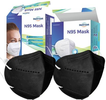 sterimask 2 PIECE reusable washable 5 Layers Protection Respirator Black Face mask for Men Women Kids