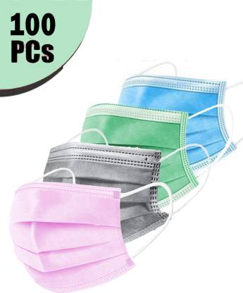Mango People 3 Ply Mask (Box of 100 3 Ply Pink/Grey/Blue and Seafoam Green.(25 Pcs of Each Color Mask), 100% Original only with HOBF Box – Can be returned without if you don't get in HOBF BOX. MP3PLY-MIX-100 Surgical Mask
