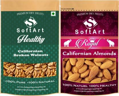 Soft Art Dry fruit combo of Californian Broken Walnut & Californian Almonds (100g each) Walnuts, Almonds