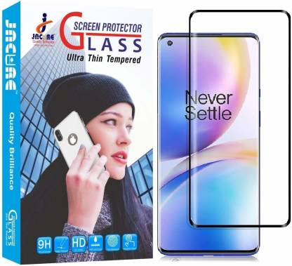 Jacure Edge To Edge Tempered Glass for Jacure™ Compatible For Oneplus 8 Tempered Glass Edge to Edge[Side Adhesive][Full Screen Coverage] [Bubble-Free][Case Friendly][Curved][Full View] Tempered Glass One Plus 8 - Bezel Less
