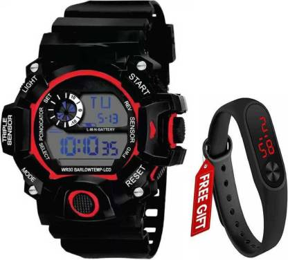Piaoma WS9094-5 Analog-Digital Military Full White Sports Fully Waterproof Digital Watch - For Men