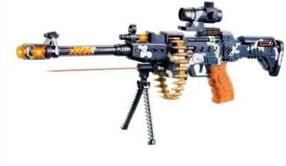 FTAFAT Musical Gun, Laser Light Range upto750 Meter, 360d Belt Rotation, Vibrations. Army Gun Toy