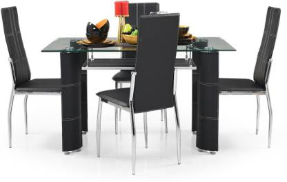 RoyalOak Glass 4 Seater Dining Set
