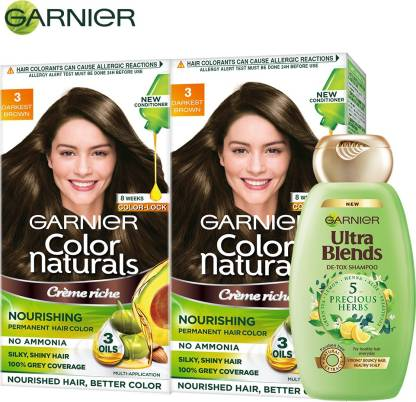 GARNIER Color Naturals Crme Hair Color - Shade 3 Darkest Brown, 70ml+60g (Pack of 2) + Ultra Blends Shampoo, 5 Precious Herbs, 340ml , Shade 3 Darkest Brown