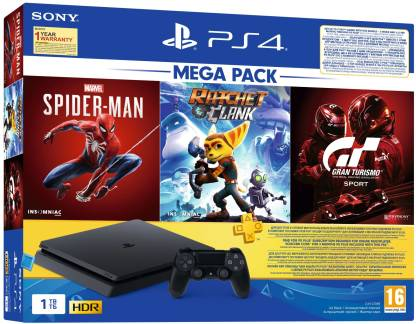 SONY PS4 Slim 1000 GB with Spider Man, Ratchet & Clank, Gran Turismo