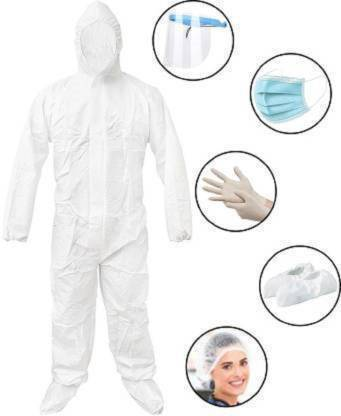EFTSOON PPE KIT with Full Body Coverall, Latex Gloves, Shoe Cover, Face Mask, Face Shield, Complete PPE kit for Doctors, Washable & Reusable Blue1 Safety Jacket Safety Jacket Safety Jacket