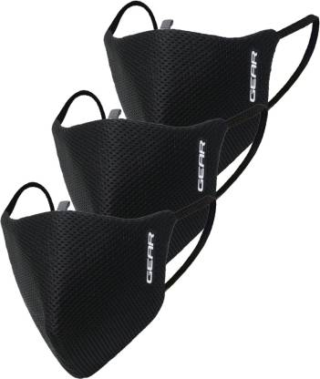 Gear Gear Oxypro Outdoor Face Mask ACCOXPOD03MSK01 Reusable (Black, Free Size, Pack of 3) ACCOXPOD03MSK01 Reusable