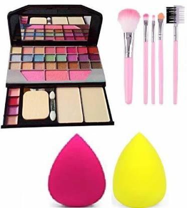 villosa Makeup kit + 5 pcs Makeup Brush + 2 pc Blender Puff Combo