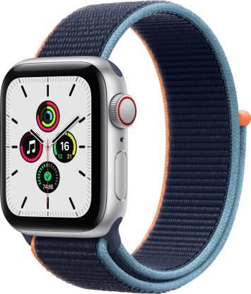 Apple Watch SE GPS + Cellular 40 mm Silver Aluminium Case with Deep Navy Sport Loop