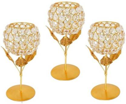 Datalact Gold Plated Crystal Candle Holder Tea Light Stand Votive- Decorative Tealight Holders for Home Office Living Room Brass Candle Holder