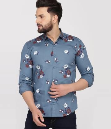 BOSQUE Men Printed Casual Grey Shirt