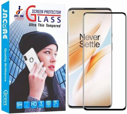 Jacure Edge To Edge Tempered Glass for Jacure™ Designed for Oneplus 8 Tempered Glass Full Coverage Edge to Edge Bubble Free Side Adhesive 3D Touch Accuracy HD Clear Easy Install Full View