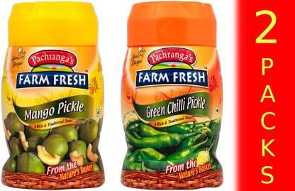 Pachranga's Farm Fresh Mango + Green Chilli Pickle Combo Pack (1KG) (2 Packs) Green Chilli Pickle