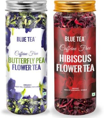 BLUE TEA Butterfly Pea Flower- CERTIFIED ORGANIC & Egyptian Hibiscus Flower Herbal Tea - Combo Pack| 75g I Hibiscus Herbal Tea Plastic Bottle