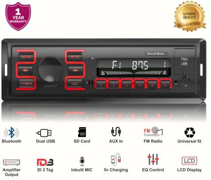 Sound Boss SB-49 Charge Pro+ DUAL USB Bluetooth Wireless With Phone Caller Id Receiver Universal Car Stereo (Single Din) Car Stereo