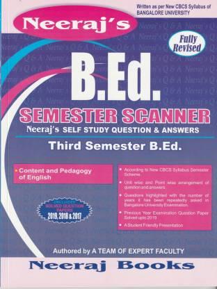 B.ed 3rd Sem Scanner- Content And Pedagogy Of English- Bangalore University