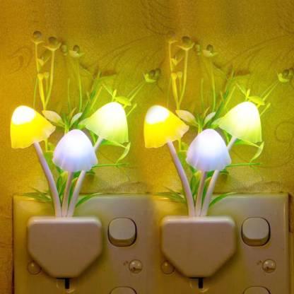 WORA Mushroom & Flower Color Changing Light Sensor LED Decorative pack of 2 Night Lamp